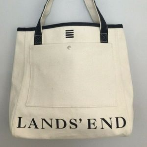 Lands End Open Top Canvas Tote Bag